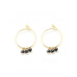 Mini hoop earrings with black onyx