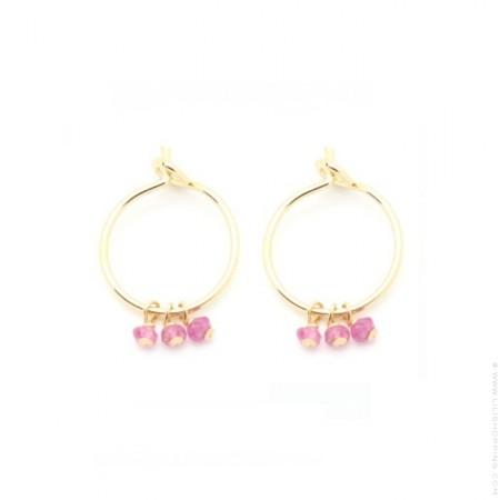 Mini créoles plaquées or et tourmaline rose