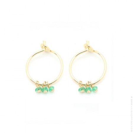 Mini hoop earrings with green emeralds