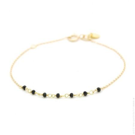 Bracelet Jaipur plaqué or et 7 onyx noires