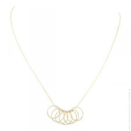 Gold Plated 7 Rings Necklace