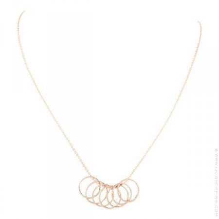 Pink Gold Plated 7 Rings Necklace