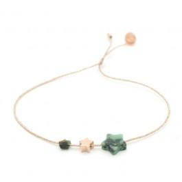 Bracelet lurex fleur plaquée or rose et zyrconium