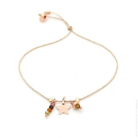 Pink gold platted star and spinel Lurex Bracelet