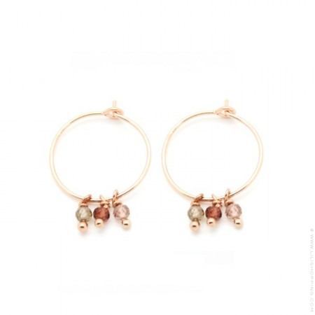 Mini hoop pink gold platted earrings with spinel semi-precious stones