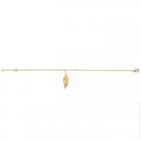 Bracelet de cheville plume plaqué or
