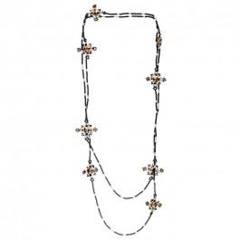 Sautoir croix de perles