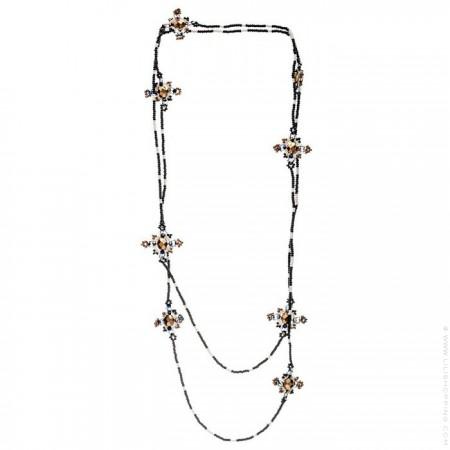 Sautoir croix de perles noir