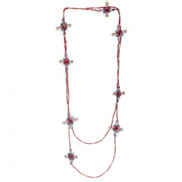 Burgundy beads long necklace