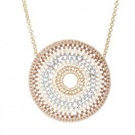 Beige crochet mandala beads long necklace