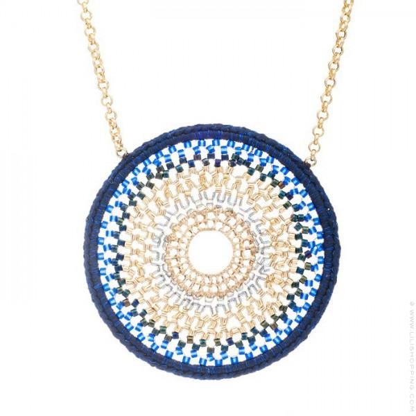 Navy crochet mandala beads long necklace - Lili Shopping