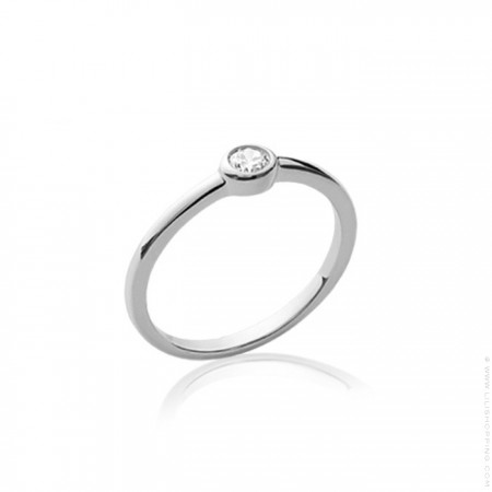 White zirconium silver ring