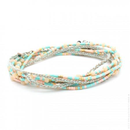 Bracelet 3 tours perlé turquoise