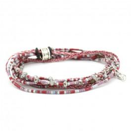 Bracelet 3 tours perlé rouge