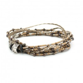 Brown and moka multitour beads and cristals bracelet