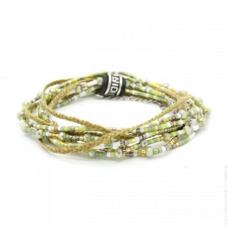 Bracelet 3 tours perlé kaki