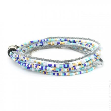 Bracelet 3 tours perlé bleu