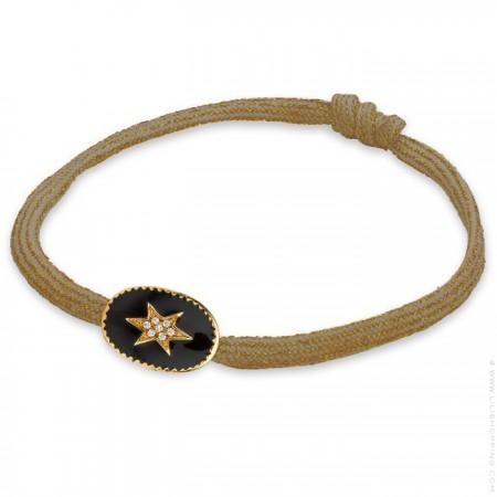 Bracelet étoile du nord émaillée noir