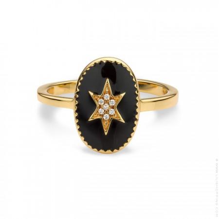 Bague plaquée or étoile du nord émaillée noir