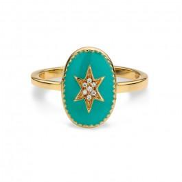 Bague plaquée or étoile du nord émaillée turquoise