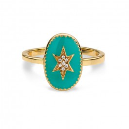 enamel north star gold Plated Ring