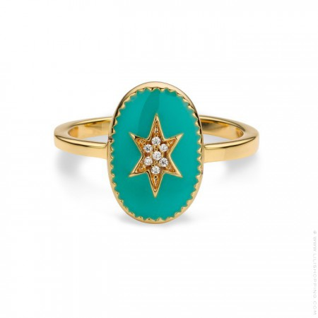 Turquoise enamelled north star gold Plated Ring