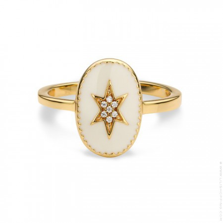 Ivory enamelled north star gold Plated Ring