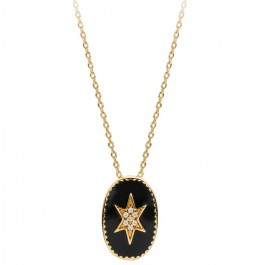 enamel north star Gold platted necklace