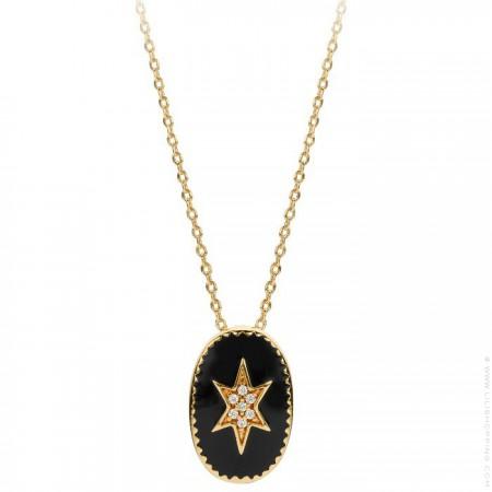 Collier plaqué or étoile du nord émaillée noir