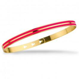 Bracelet 2 lignes laquées perlées rose fluo