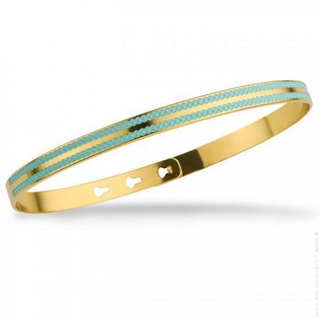 Bracelet 2 lignes laquées perlées turquoise