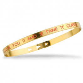 I love you Ti amo Je t'aime Te quiero coral Gold Plated Bracelet