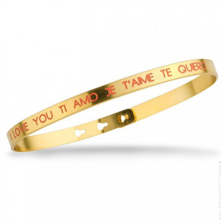 Bracelet I love you Ti amo Je t'aime Te quiero corail plaqué or