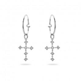 Boucles d'oreilles croix plaquées argent