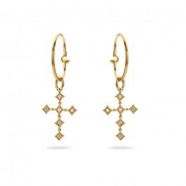 Boucles d'oreilles croix plaquées or
