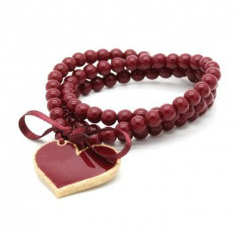 Bracelet / collier coeur burgundy doré