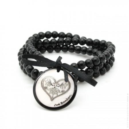 Bracelet / collier coeur dentelle noir et blanc