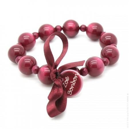 Bracelet Coco nacré framboise