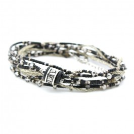 Black and grey multitour beads and cristals bracelet