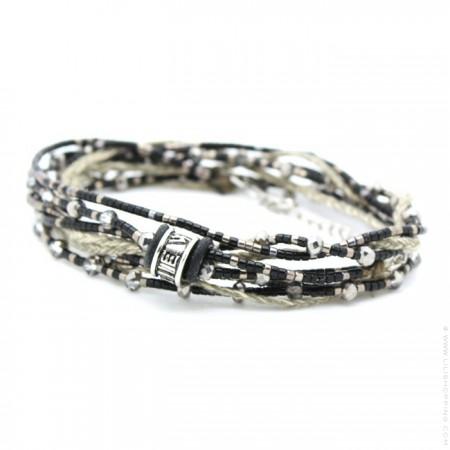 Bracelet 3 tours perlé noir