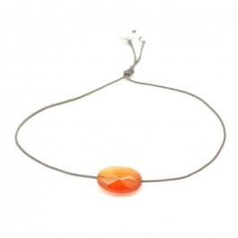 Bracelet cornaline orange ovale à facettes