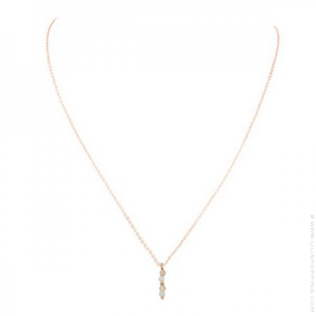 Pink Gold Plated Lea zircon Necklace