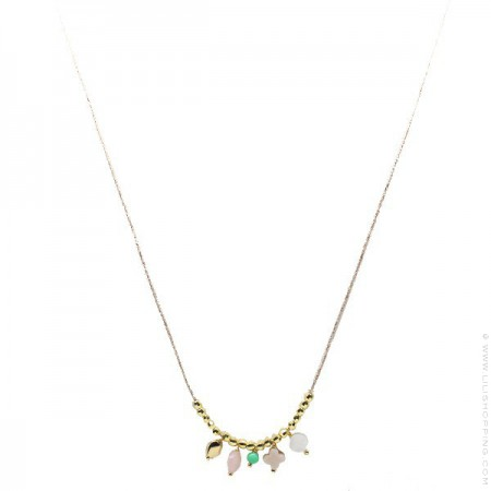 Gold Plated nuggets and pampilles Necklace