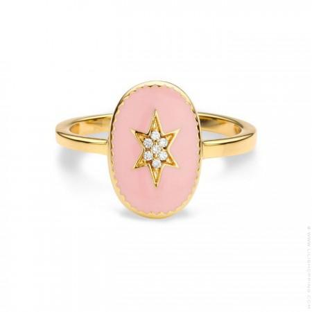 Bague plaquée or étoile du nord émaillée rose