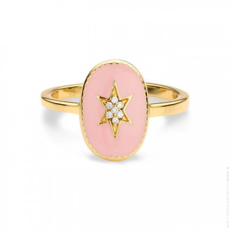 Pink enamelled north star gold Plated Ring