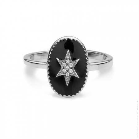 Black enamelled north star silver Plated Ring