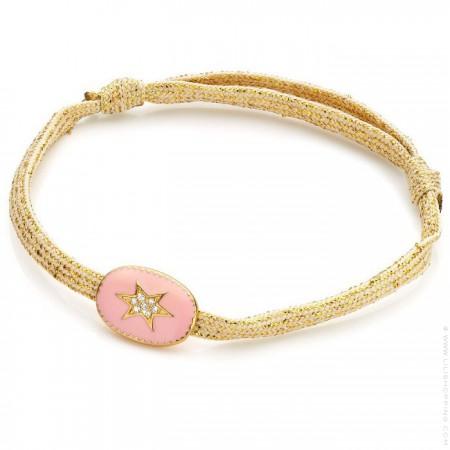 Bracelet étoile du nord émaillée rose