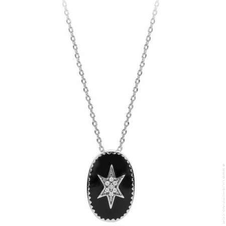 Black enamelled north star Silver platted necklace