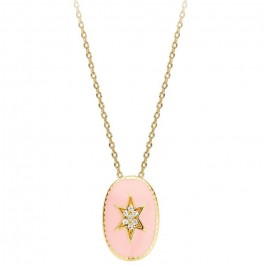 Ivory enamelled north star Gold platted necklace