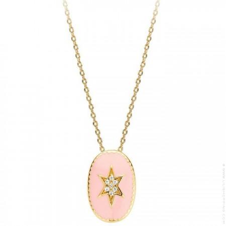 Collier plaqué or étoile du nord émaillée rose